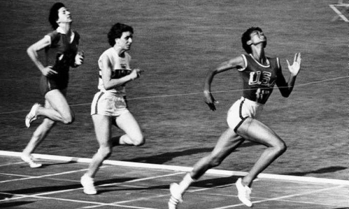 Wilma Rudolph wins 100m at 1960 Rome Olympic Games. Wikimedia Commons.