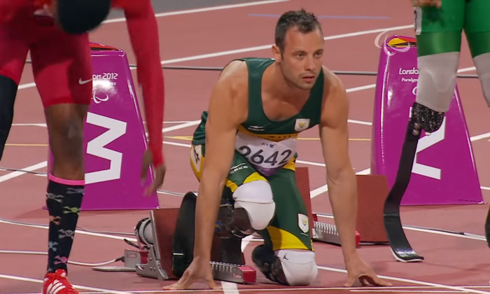 Oscar Pistorius during the 100 metre sprint final, Paralympic Games, London, 2012. ParalympicSport TV, 7 September 2012.